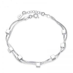 Bracelet de cheville en argent Sterling double chaîne réglable
