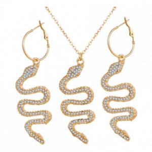 Ensemble collier et boucles d'oreilles serpent en cristal