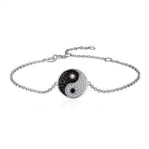 Bracelet en argent 925 avec spinelles noirs pour femme