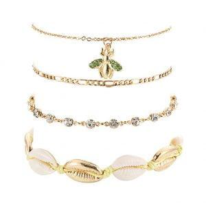 Bracelets de cheville 4 pièces pour femme