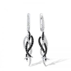 Boucles d'oreilles pendantes argent 925 avec spinelles et zircons