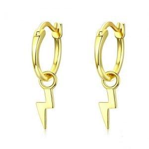 Boucles d'oreilles créoles argent 925 motif éclair femme