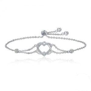 Bracelet en argent 925 double cœur pour femme