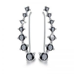 Boucles d'oreilles argent 925 spinelles noirs