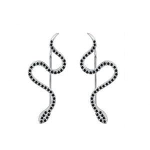 Boucles d'oreilles serpent argent 925 zirconium