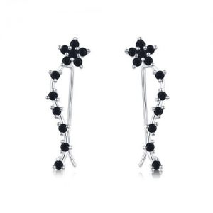 Boucles d'oreilles en argent 925 et spinelles noirs fleur