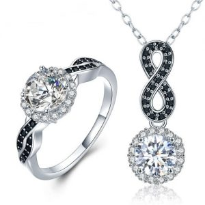 Parure de bijoux argent 925 et oxydes de zirconium