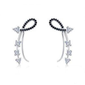 Boucles d'oreilles en argent 925 oxydes de zirconium et spinelles noirs