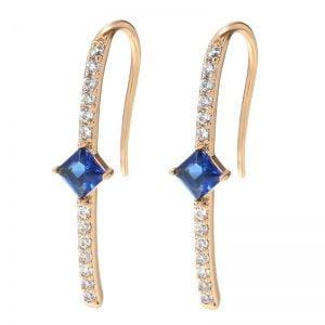 Boucles d'oreilles pendantes en Zirconium et or Rose