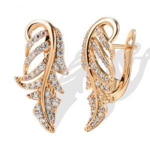 Boucles d'oreilles feuille en or Rose et zirconiums