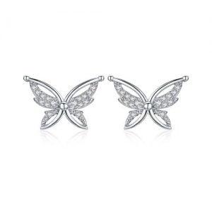 Boucles d'oreilles papillon en argent 925 et oxydes zirconium