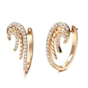 Boucles d'oreilles en or rose et oxydes de zirconium