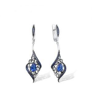 Boucles d'oreilles pendantes argent 925 Zirconiums