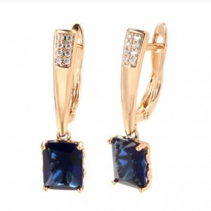 Boucles d'oreilles pendantes en zirconiums blancs et bleu
