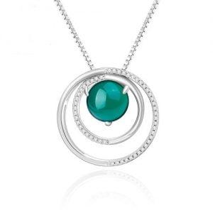 Collier en argent 925 double cercle avec agate verte