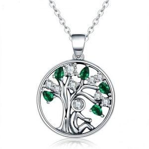 Collier arbre en argent 925 et zirconiums