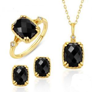 Ensemble de bijoux en argent 925 plaqué Or et Onyx noir