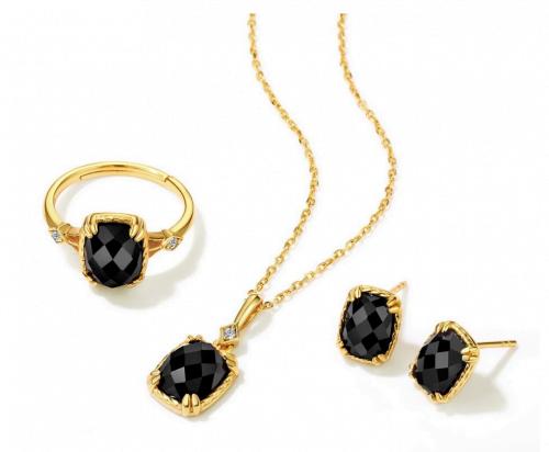 parure bijoux argent plaque or onyx noir