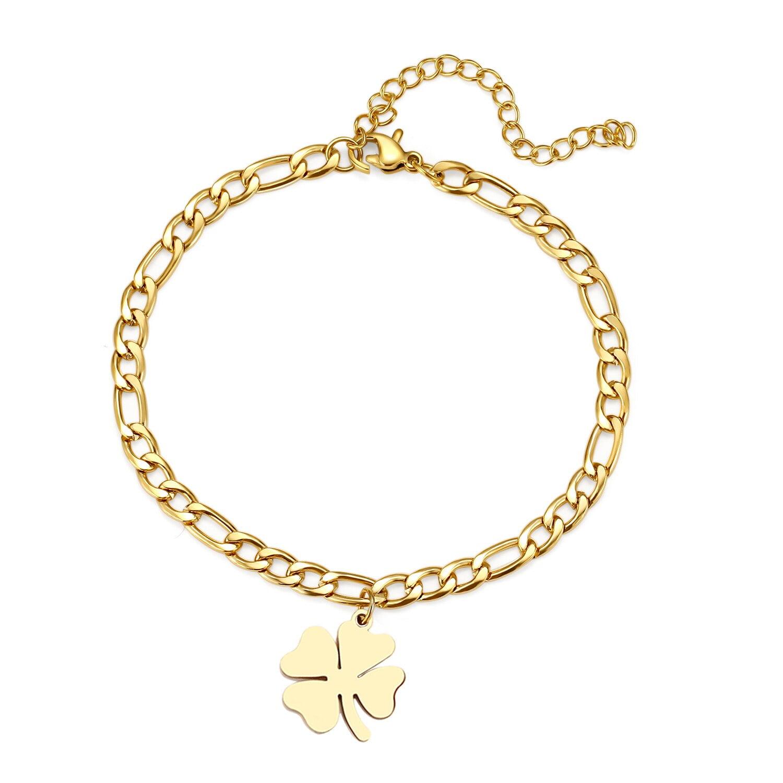 Bracelet de cheville Trèfle en acier inoxydable pour femme