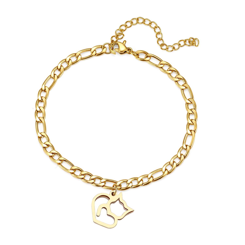 Bracelet de cheville Chat en Acier Inoxydable