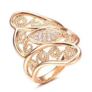 Bague Grand anneau en Or Rose 585 et zirconiums