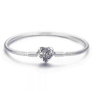 Bracelet souple coeur en argent 925