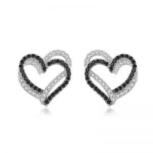 Boucles d'oreilles coeur argent 925 Oxydes de zirconium